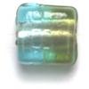 Glass Beads 10mm Square Flat Two Tone Olivine/Aqua Foiled